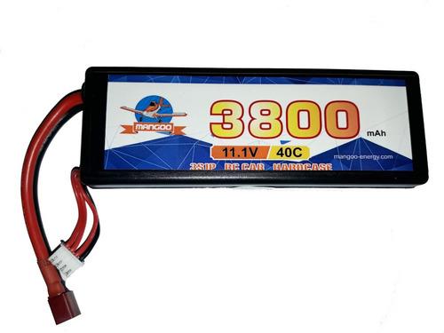batería litio lipo 11.1v 3800mah 40c hard case autos rc dron
