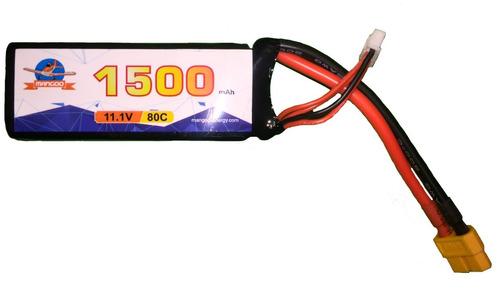 batería litio lipo 3s 11.1v 1500mah 80c racing drone carrera