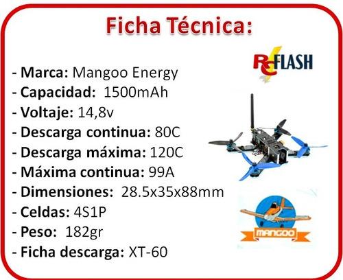 batería litio lipo 4s 14.8v 1500mah 80c racing drone carrera