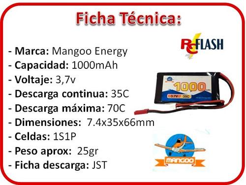 batería litio polímero lipo 3.7v 1000mah 35c helicópteros rc