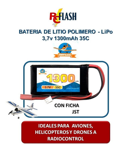 batería litio polímero lipo 3.7v 1300mah drones helicopteros