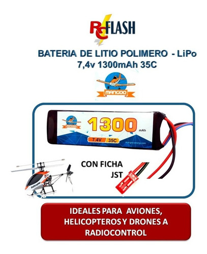 batería litio polímero lipo 7.4v 1300mah 35c drones airsoft