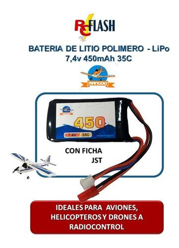 batería litio polímero lipo 7.4v 450mah drones helis aviones