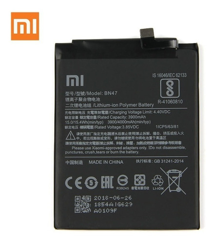 bateria litio xiaomi mi a2 lite redmi 6 pro bn47 original