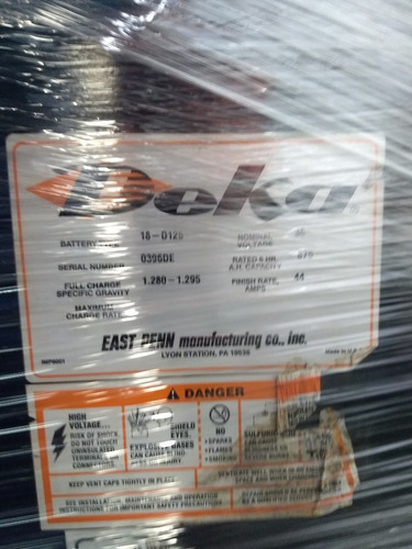 bateria montacargas 18-125-15 5 horas trabajo garantizado!!!