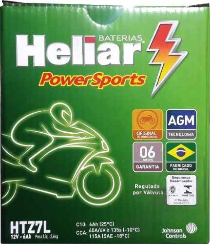 bateria moto heliar htz7 dafra riva