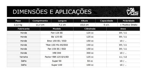 bateria moto moura 12v-5ah honda 125/150 biz/fan/cg/bros/esd