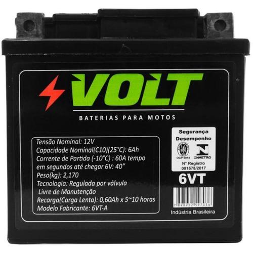 bateria moto xre cb 300 600 hornet ybr 125 6ah selada volt