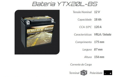 bateria moto ytx20l-bs harley davidson heritage classic