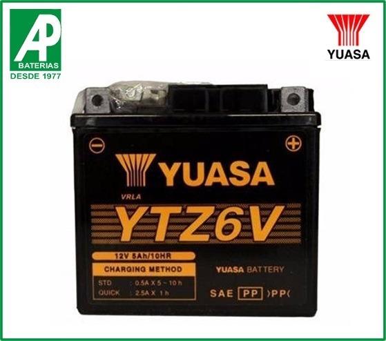 bateria moto yuasa ytz6v yamaha factor ybr 125 e k ed 5 ah. Black Bedroom Furniture Sets. Home Design Ideas