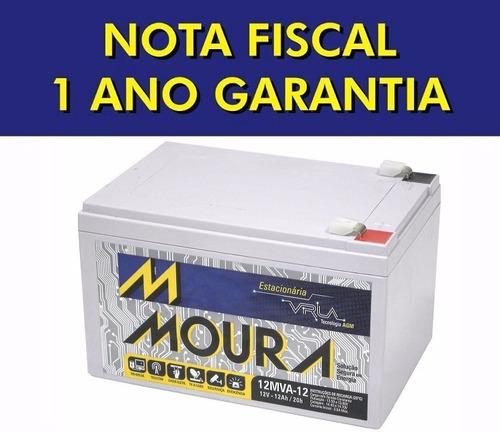 bateria moura 12v 12ah vrla p/ nobreak, alarme e equip. elet