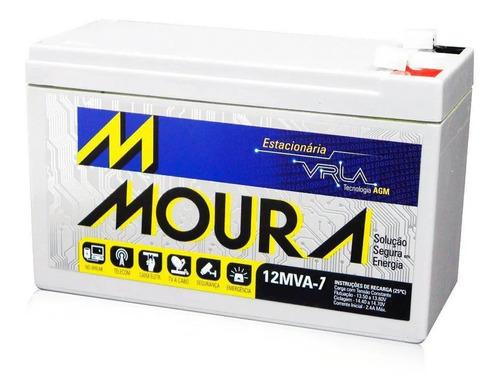 bateria moura estacionária recarregável 12v 7a ups 12mva-7