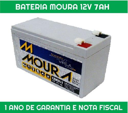bateria moura vrla - 12v 7ah p nobreak, alarme e outros