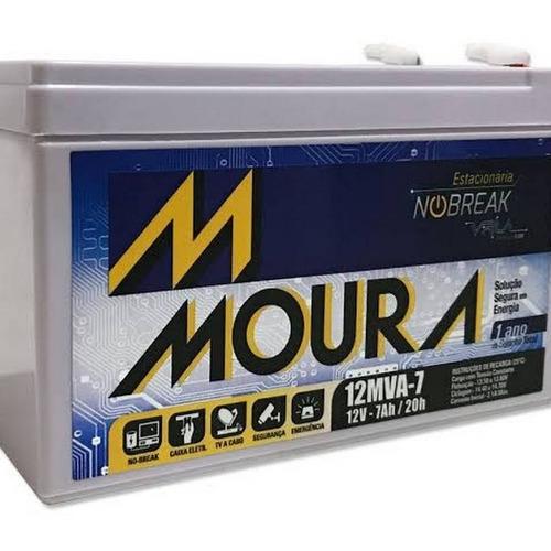 bateria moura vrla selada 12v 7ah alarme no-brea 12mva-7