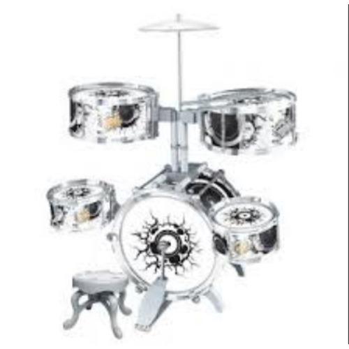 bateria musical acustica infantil rocky party c banco 12 pçs