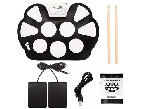 bateria musical eletrônica portátil c/ 2 baqueta + 2 pedais