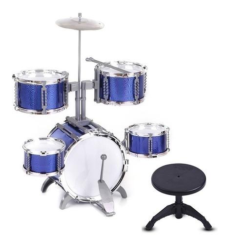 bateria musical infantil rocky boy com pedal e banqueta azul