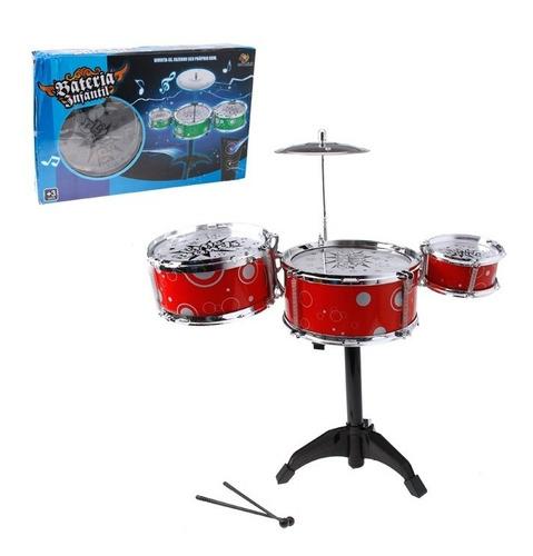 bateria musical infantil tambor baquetas prato criança