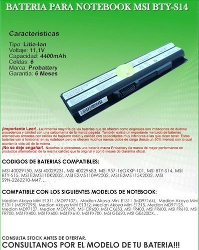batería notebook msi