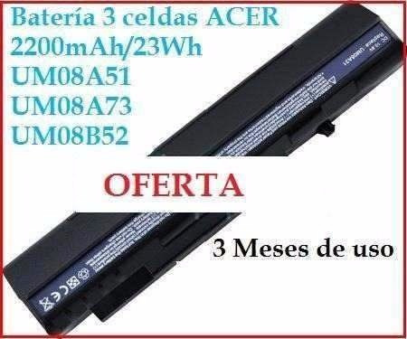 batería original acer aspire one laptop tres celdas um08a51