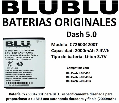 batería original blu studio 5.0  d410  original  heredia