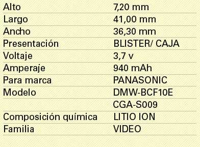 BATERIA para Panasonic DMC fs10 fs-10 cga-s//106c cga-s106c