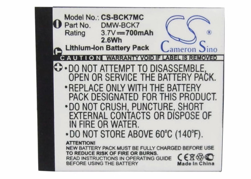 bateria panasonic bck7 lumix dmc-s1n  dmcs1n  s1n