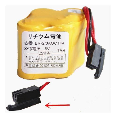 bateria para cnc fanuc 6v panasonic plc br-2/3agct4a preto