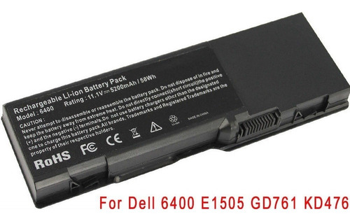 bateria para dell inspiron 1501 6400 e1505 kd476 gd761 6 cel