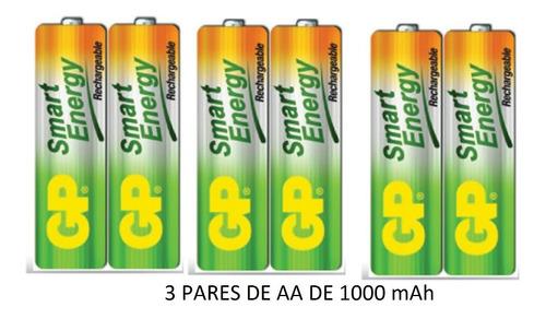batería pila aa 1000 mah recargables gp x3 pares