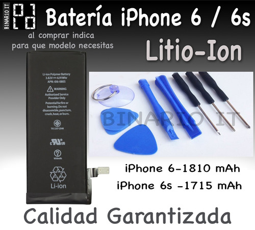 batería pila iphone 6, 6s kit herramientas y envío gratis