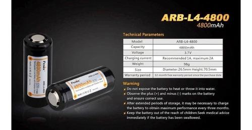 bateria pila recarg original fenix 26650 4800mah 3.7v