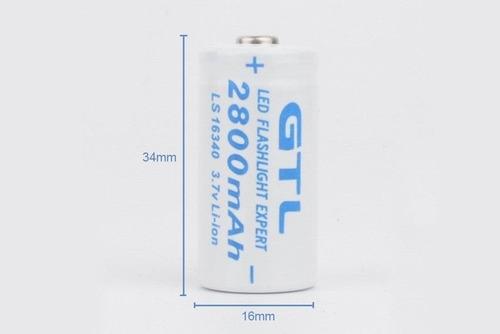 bateria pila recargable 123, cr123 ,16340 litio-ion 2800 mah