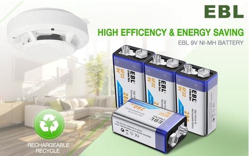 bateria pila recargable 9v 280mah ni-mh ebl gp pkcell a321