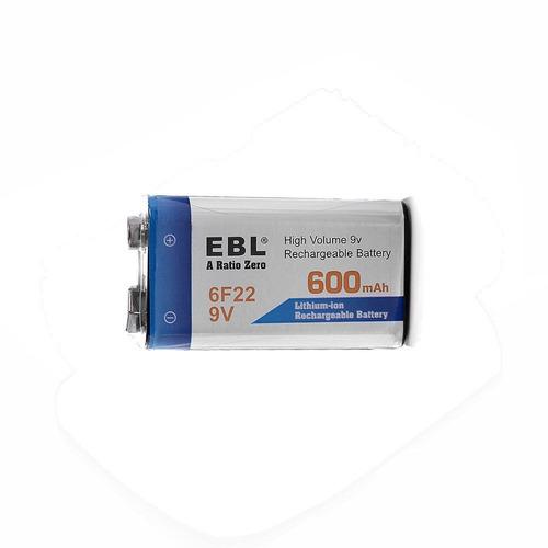 batería pila recargable 9v 600mah li-on cuadrada ebl 6f22