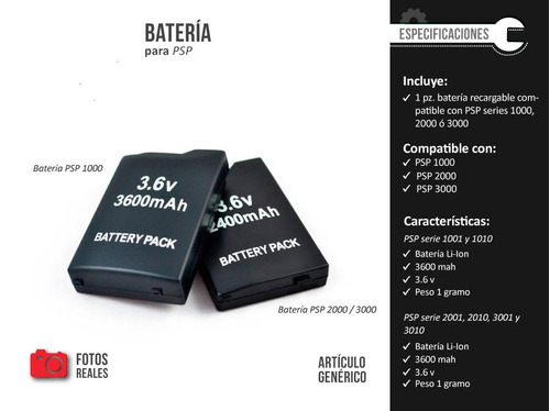 bateria pila recargable psp 1000 fat  1003 1004 1000 1001