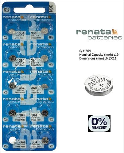 batería pila renata 364 1.55 v para reloj oxido de plata