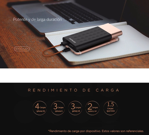 batería portátil ligera gadget power bank 9000mah funblue ®
