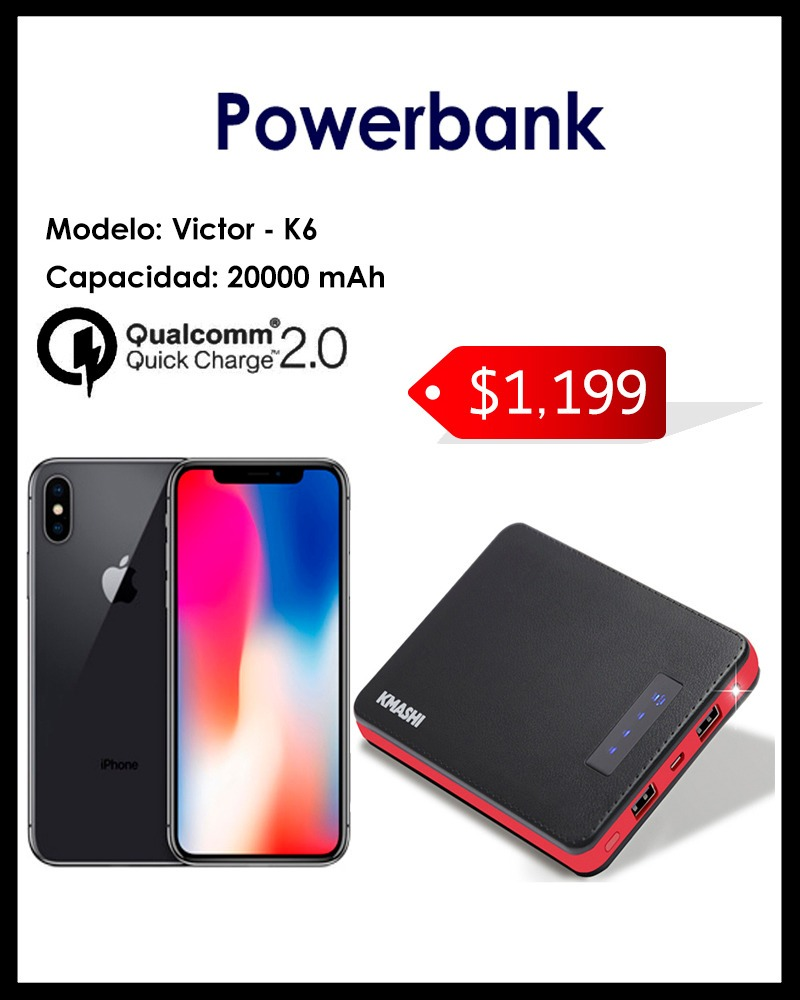 on sale a57ad c623e Batería Portátil Quick Charge 2.0 Para iPhone X