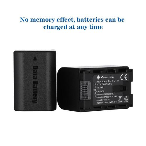 batería powerextra de 2 paquetes para jvc bn-vg121, bn-vg121