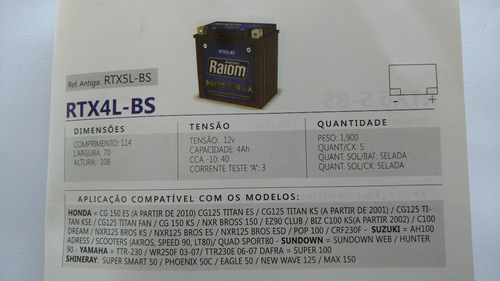 bateria raiom rtx6l-bs - bros 125 / crf230 / bros 150