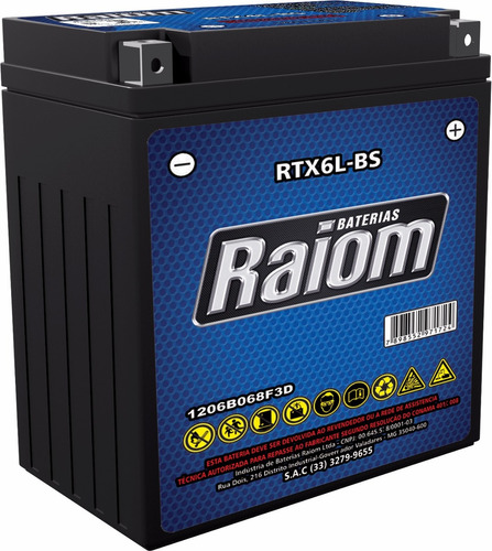 bateria raiom rtx6l-bs-bros 150 / titan150 / fan 09 -xre 300