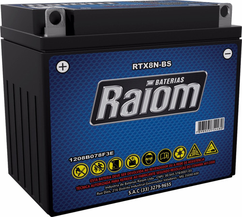 bateria raiom rtx8n-bs - yes125/katana125/intruder 125