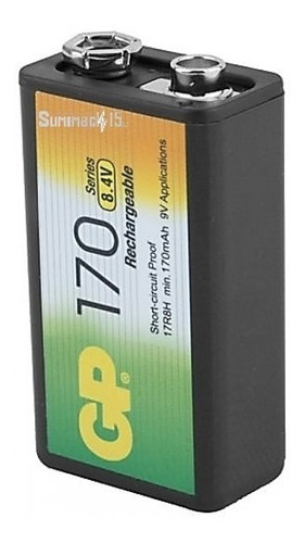bateria recargable 9v gp nimh 170mah pack de 1