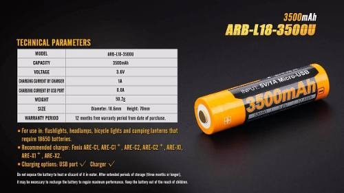 bateria recargable fenix 3500mah 3.6v puerto usb 18650