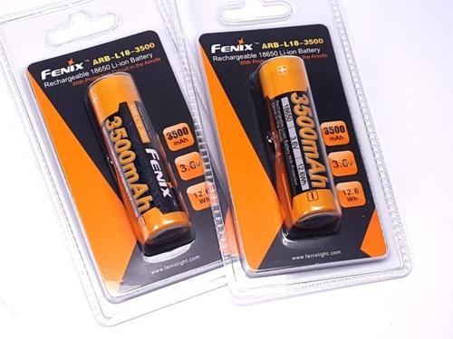 bateria recargable usb fenix 18650 3500mah 3.6v x2 unidades