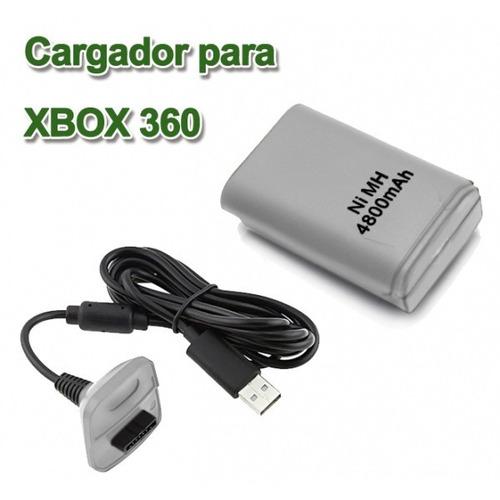 bateria recargable xbox 360 de 4800mah y cable para control