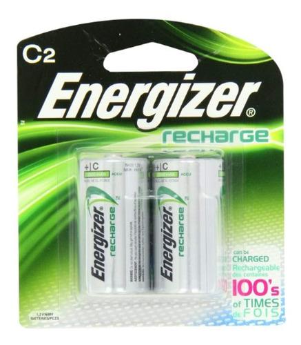 batería recargadora energizer c2, pack de 2