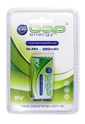 bateria recarregável bap 9v ni-mh 320mah bap-680
