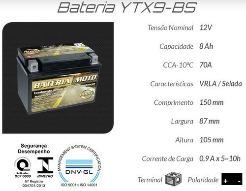 bateria route - honda vt 600 c / cd shadow deluxe - ytx9-bs
